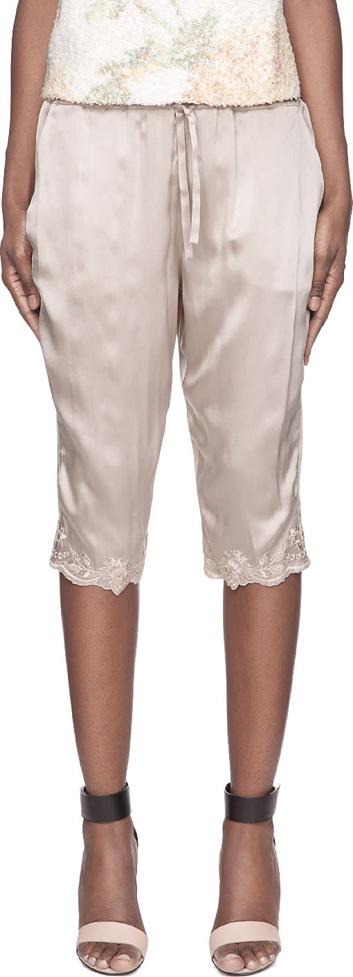 Image of Suno Taupe Floral Embroidery Silk Capris