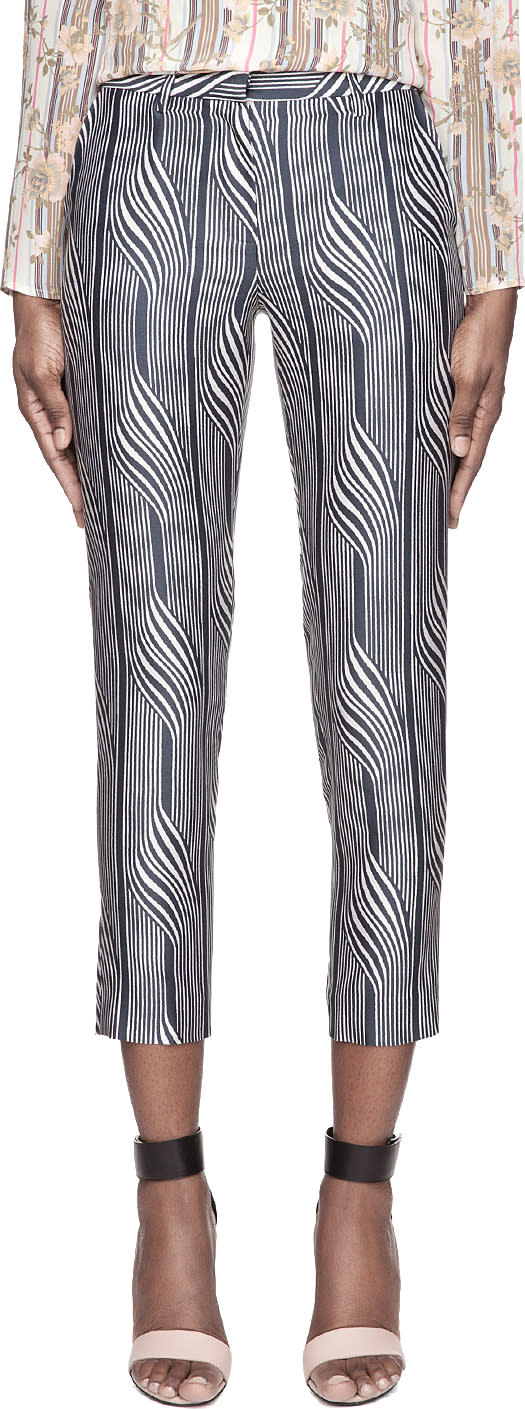 Image of Suno Navy Warped Stripe Classic Trousers