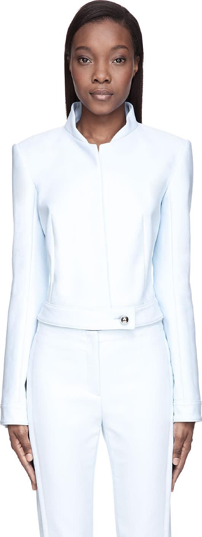 Mugler Baby Blue Stand Collar Jacket