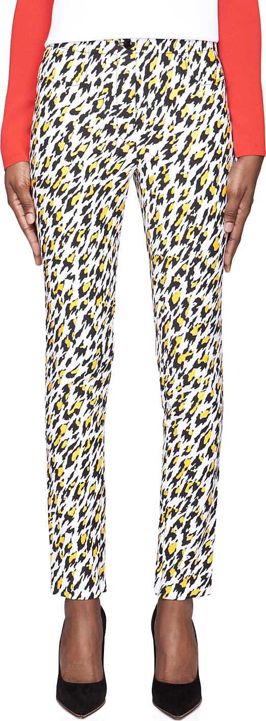 Mugler White Leopard Print Applique Trousers