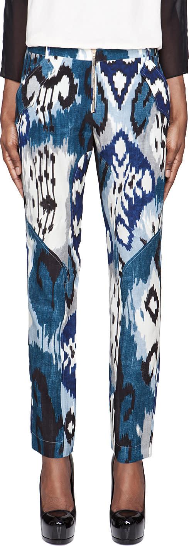 Altuzarra Blue Printed Silk Simba Trousers