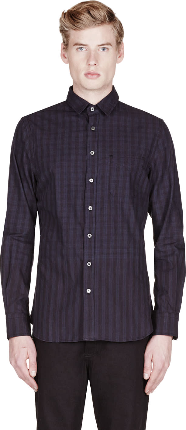 Wings and Horns Black Engineered Plaid Stripe Shirt