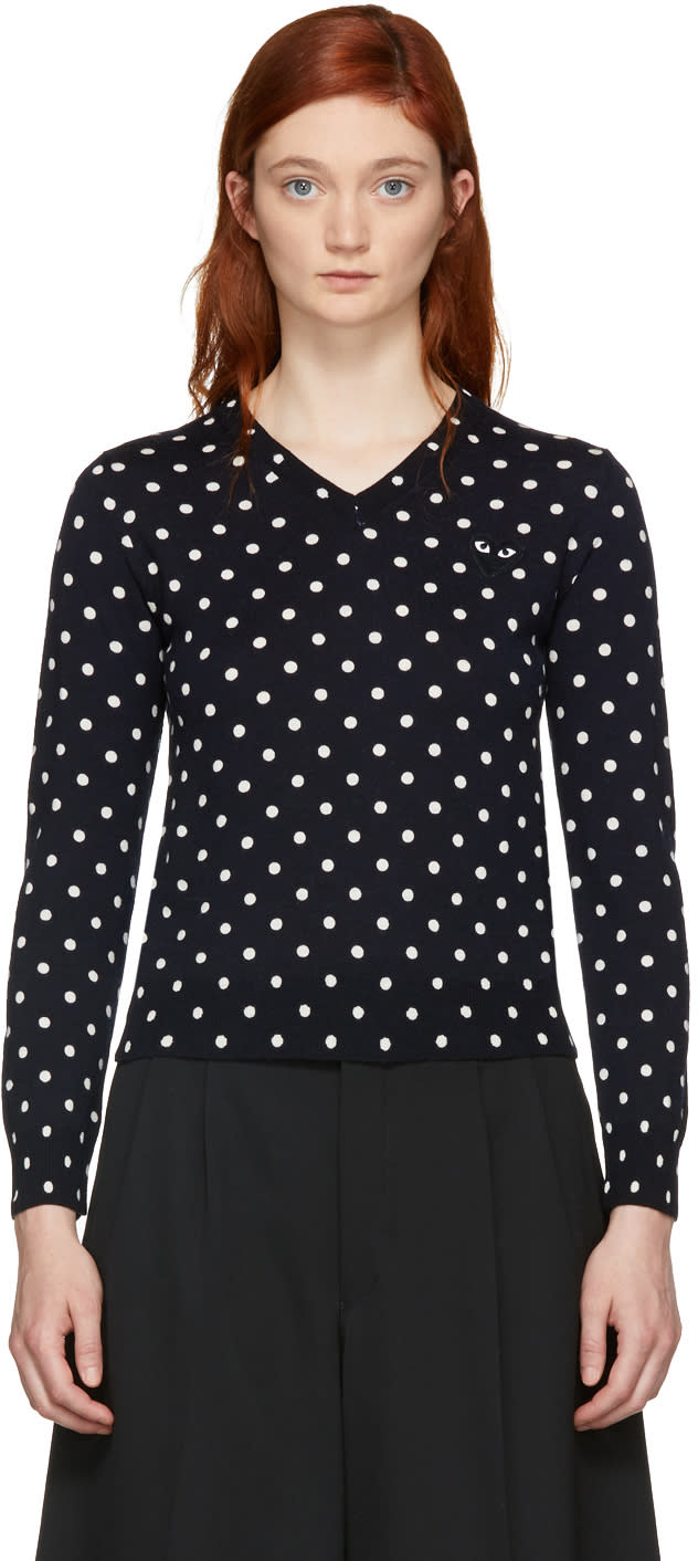 Comme Des Garcons Play Navy Polka Dot V-neck Sweater