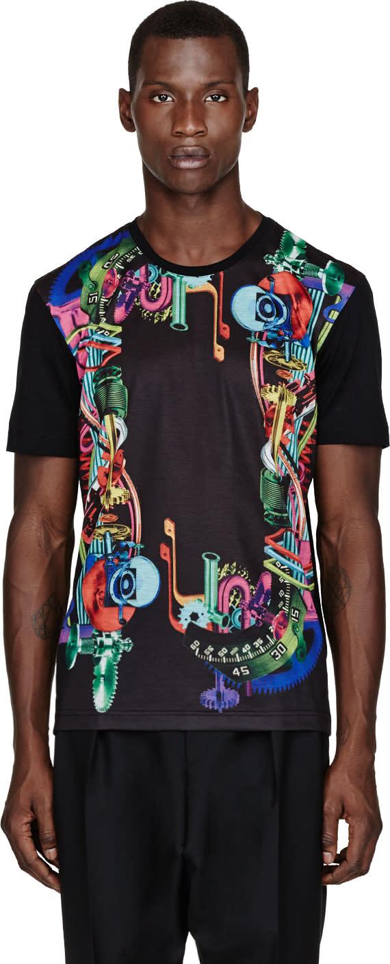 Juun.j Ssense Exclusive Black Gear-print T-shirt