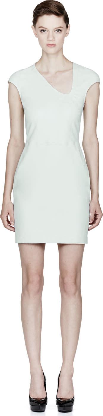 Image of Mugler Seafoam Green Leather Dress