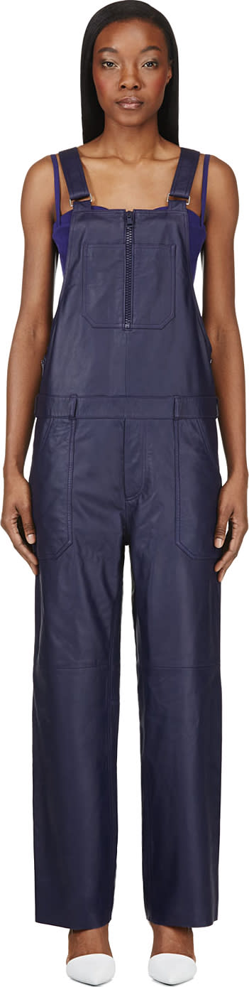 Acne Studios Indigo Leather Chagall Overalls