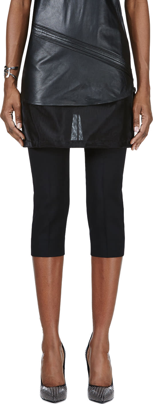 Maison Margiela Black Mesh Skirt Layered Trousers