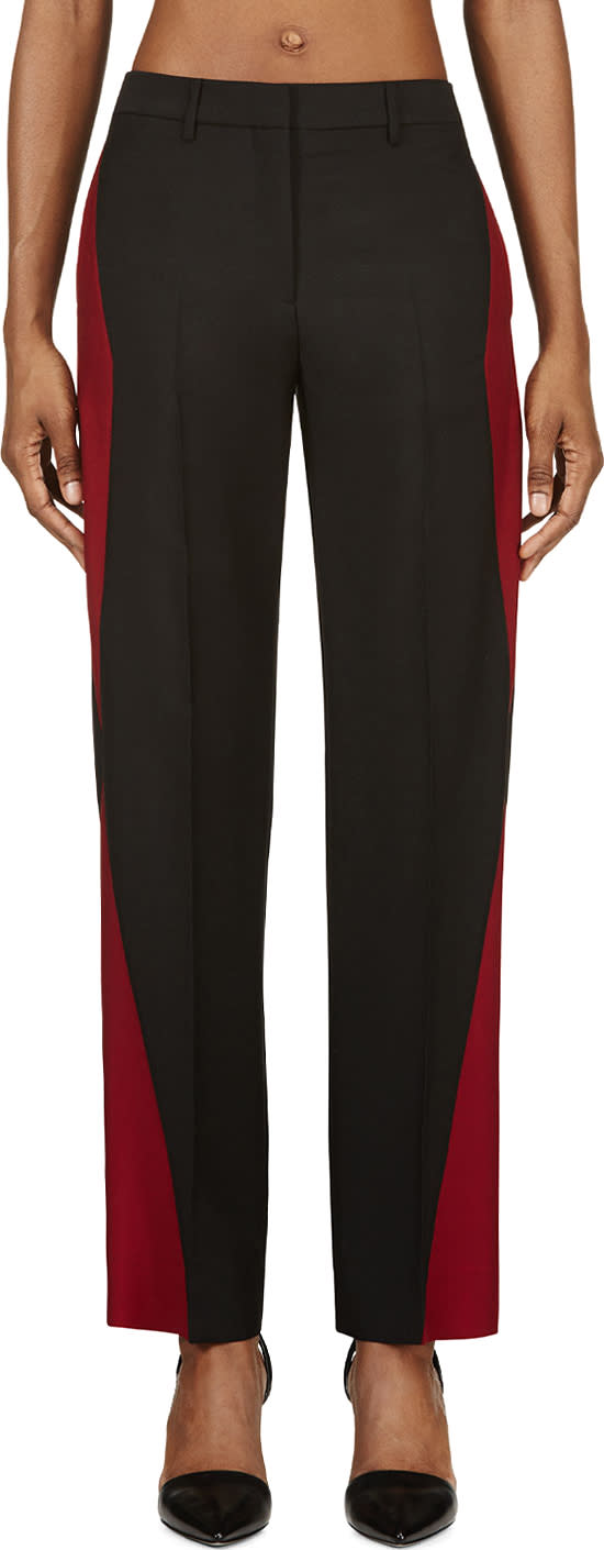 Maison Margiela Black and Oxblood Colorblocked Mohair Trousers