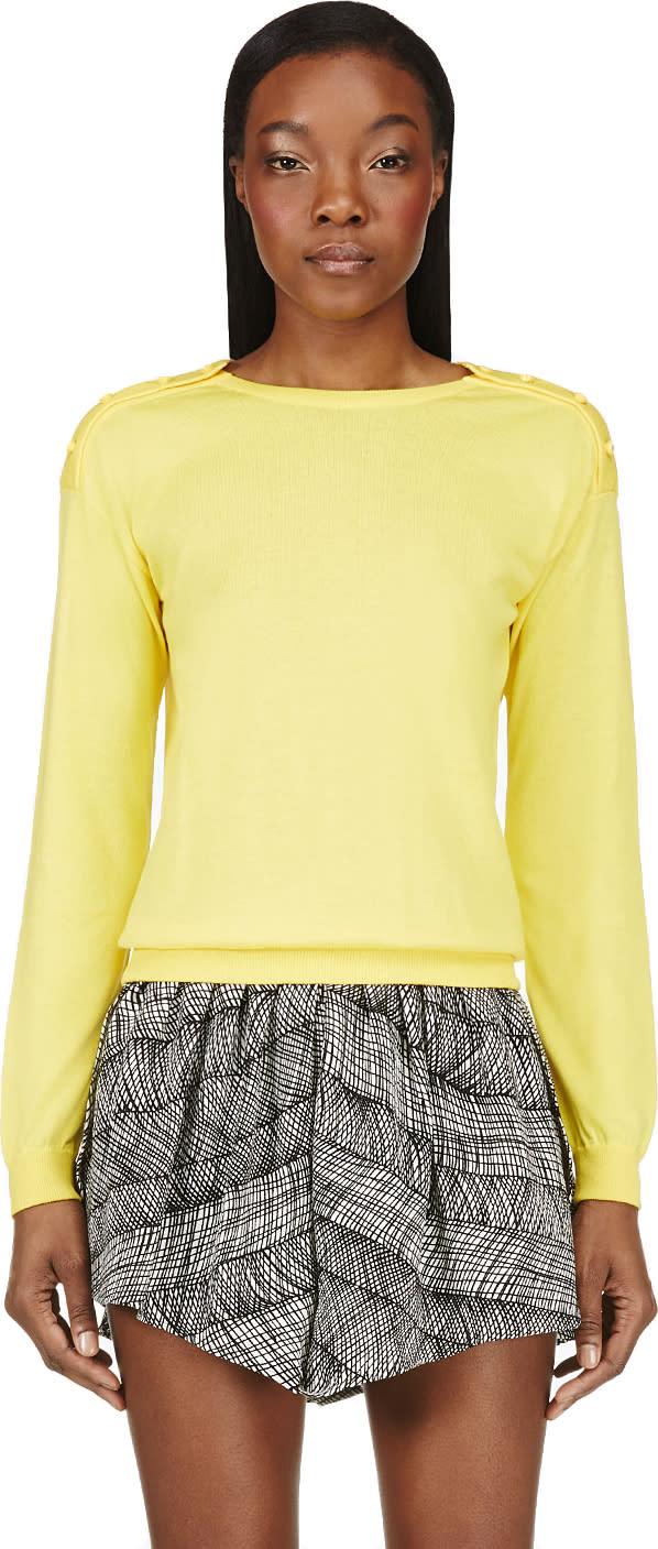 Christopher Kane Yellow Swarovski Crystal Button Sweater