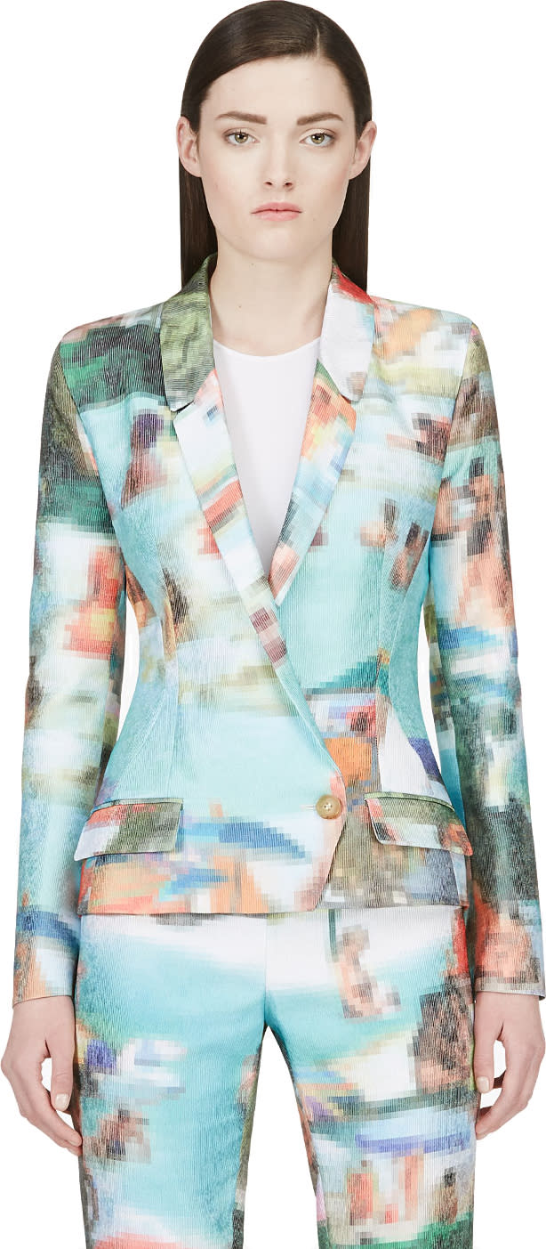 Image of Hussein Chalayan Green Pixelated Ribbed Blazer