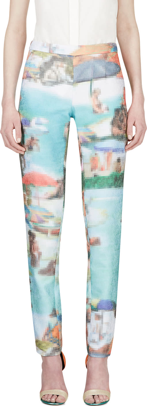 Image of Hussein Chalayan Turquoise Pixelated Ribbed Trousers