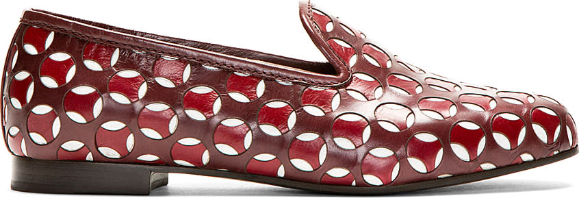 marc jacobs female 215965 marc jacobs burgundy leather offset cutout loafer