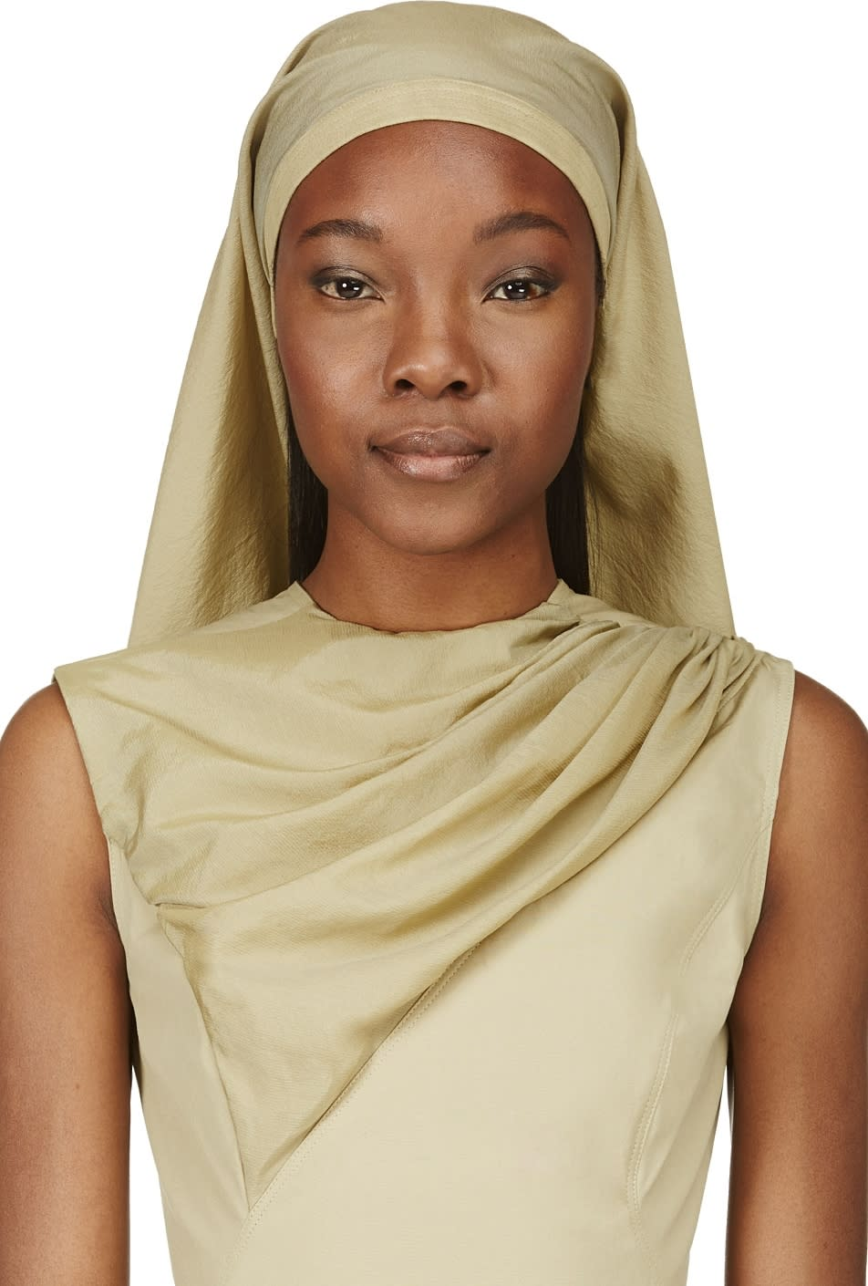 Rick Owens Khaki Green Crepe and Suede Cleo Head Scarf