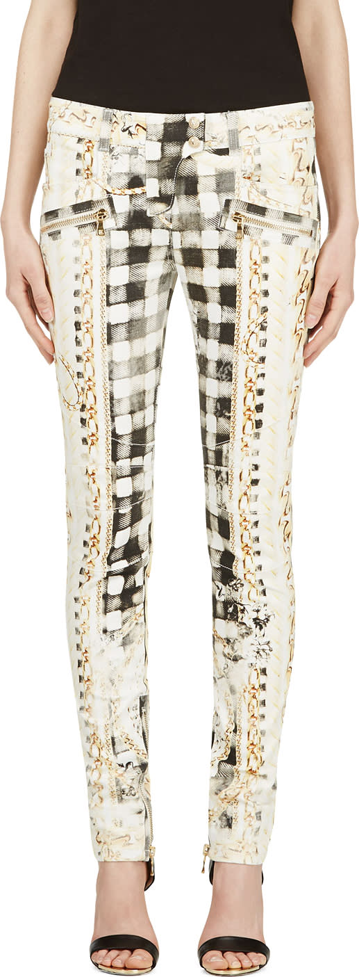 Balmain White and Yellow Signature Print Pants