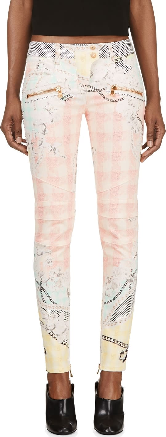 Balmain Pink Chain and Check Print Biker Jeans