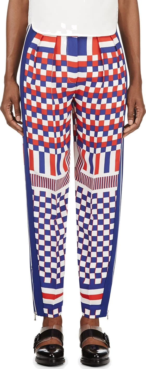 Alexander Mcqueen Blue Check and Stripe Print Trousers