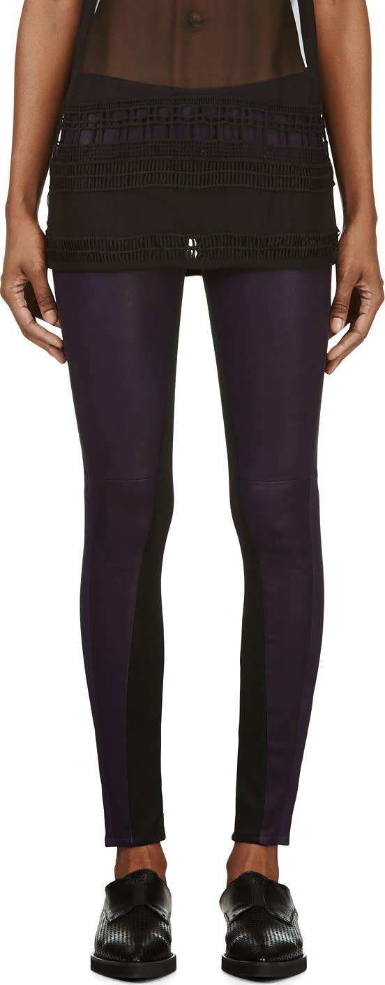 Damir Doma Purple Lambskin Paneled Leggings