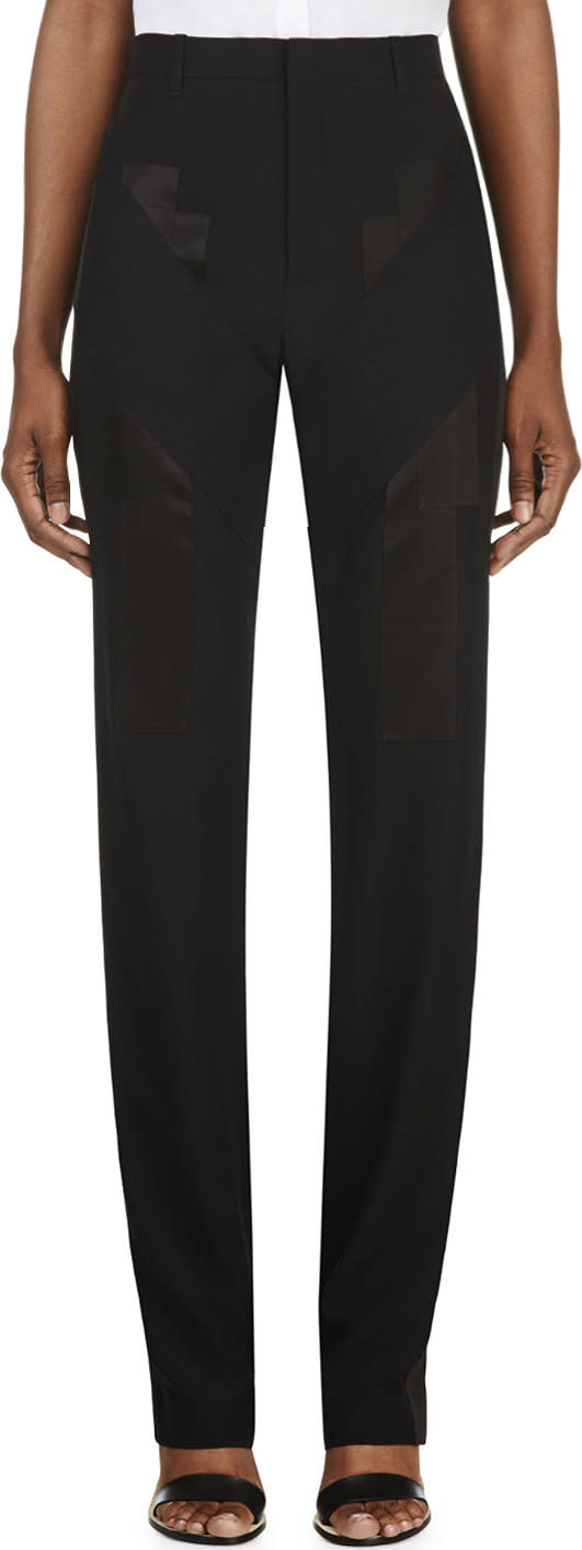 Givenchy Black Satin Applique Trousers