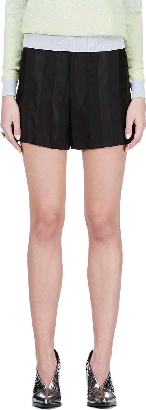 Image of Theyskens Theory Black Tonal Stripe Shorts