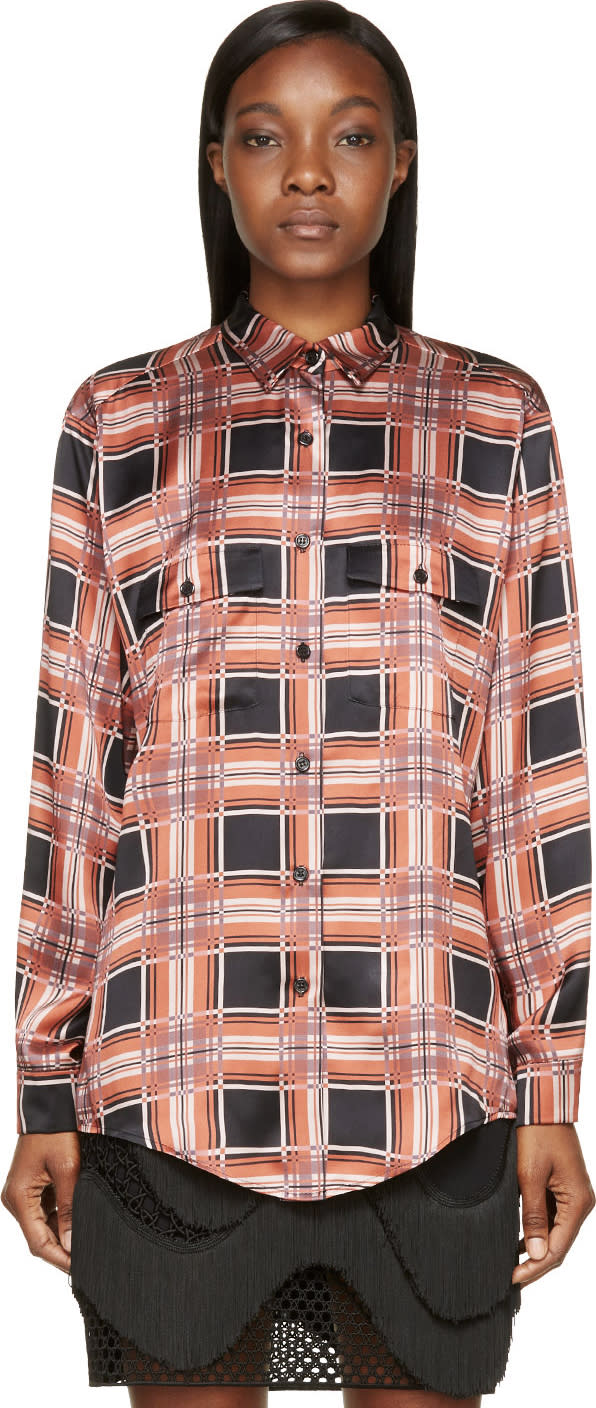 Image of Rodarte Rust and Black Plaid Silk Blouse