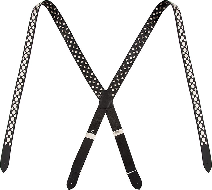 Rodarte Black Leather Studded Suspenders