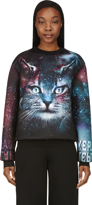 Juun.j Ssense Exclusive Black and Purple Cosmic Cat Sweatshirt