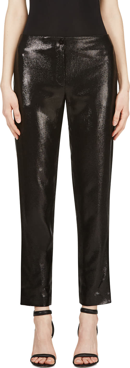 Image of Mugler Black Woven Glossy Trousers