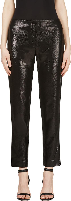 Mugler Black Woven Glossy Trousers