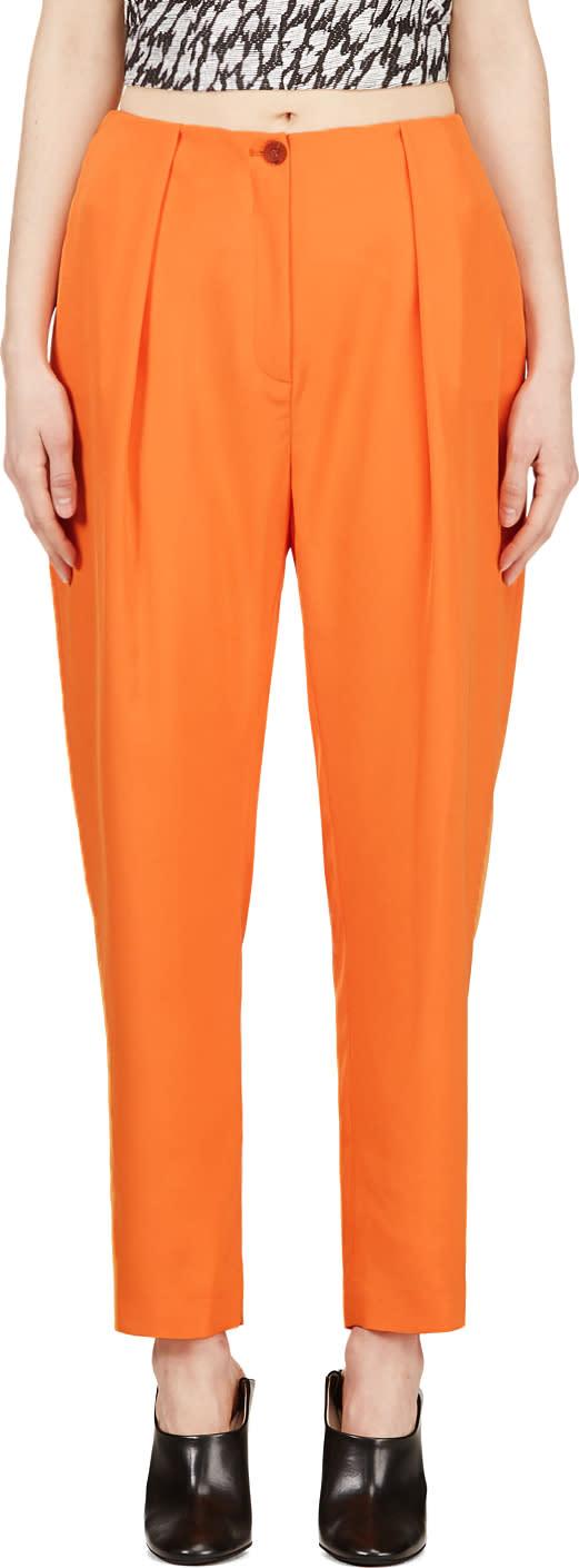 Mugler Orange Low Waist Oversize Trousers