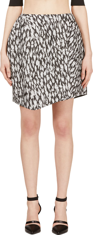 Image of Mugler Black and White Leopard Jacquard Skirt