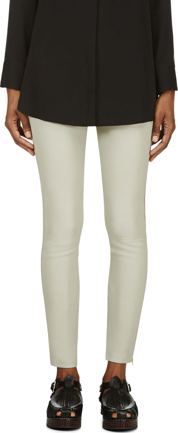 Avelon Sage and Rose Gold Leather Zipped Prune Leggings