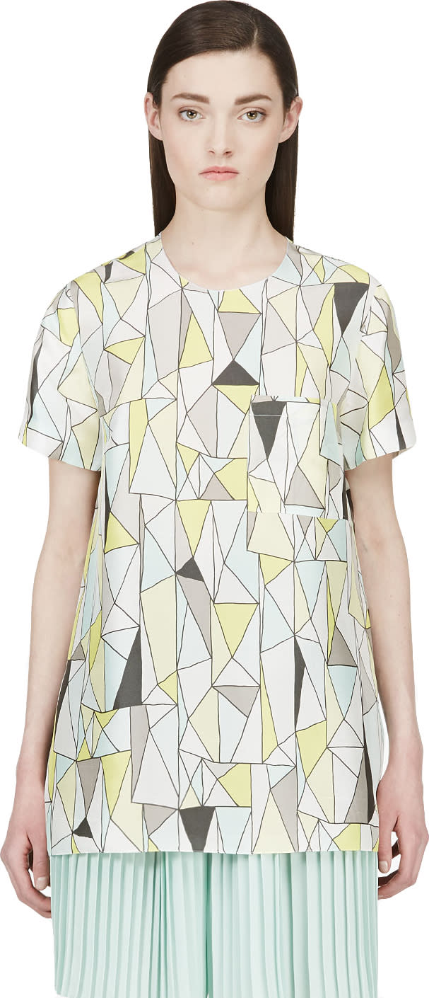 Roksanda Grey and Yellow Silk Geometric Baynes T-shirt