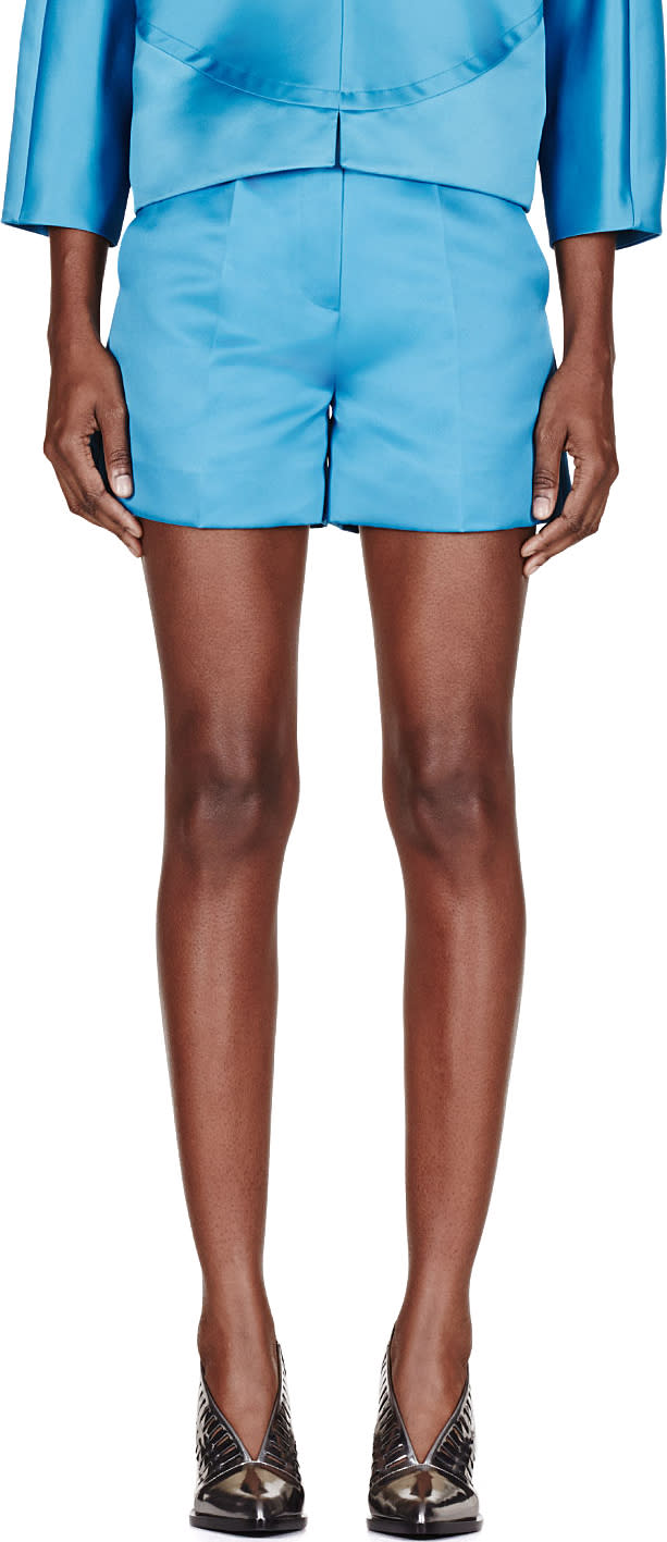 Roksanda Teal Sheen Francine Shorts
