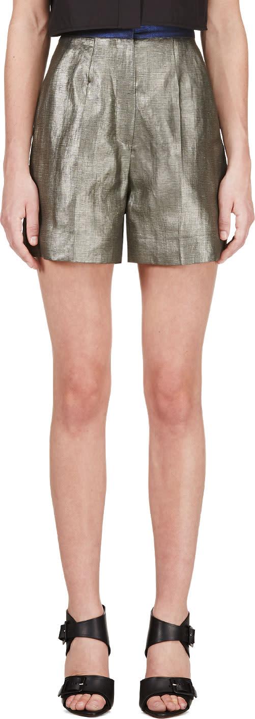 Roksanda Grey Metallic Francine Shorts