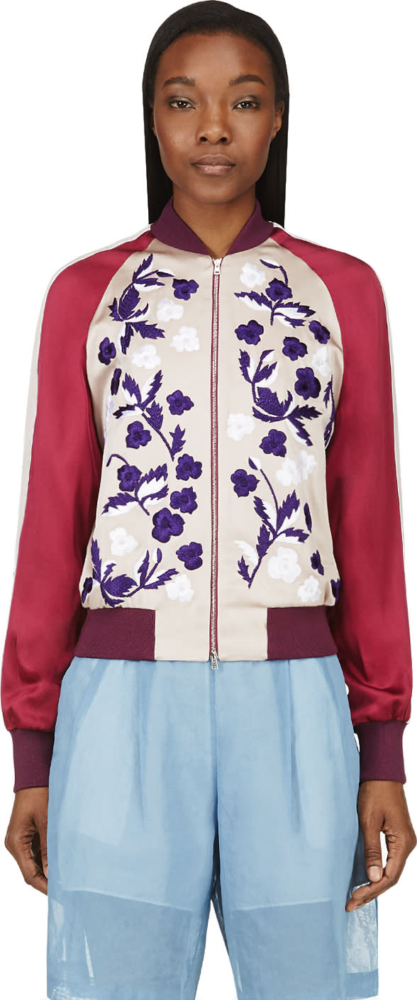 Image of Jonathan Saunders Blush Floral Embroidery Cecily Bomber Jacket