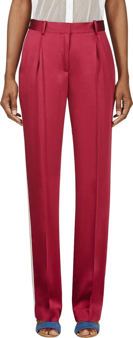 Image of Jonathan Saunders Magenta Satin Lucia Pillar Trousers