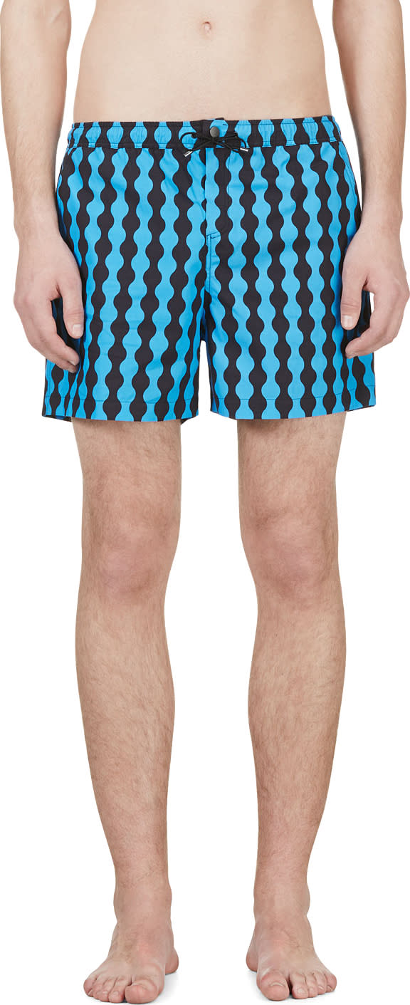Jonathan Saunders Blue and Black Wave Pattern Swim Shorts