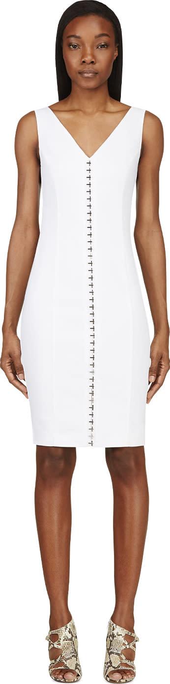 Versace White Linen Hook-front V-neck Dress