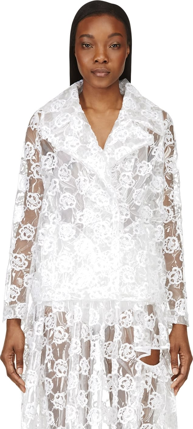 Simone Rocha Clear Embroidered Plastic Biker Jacket