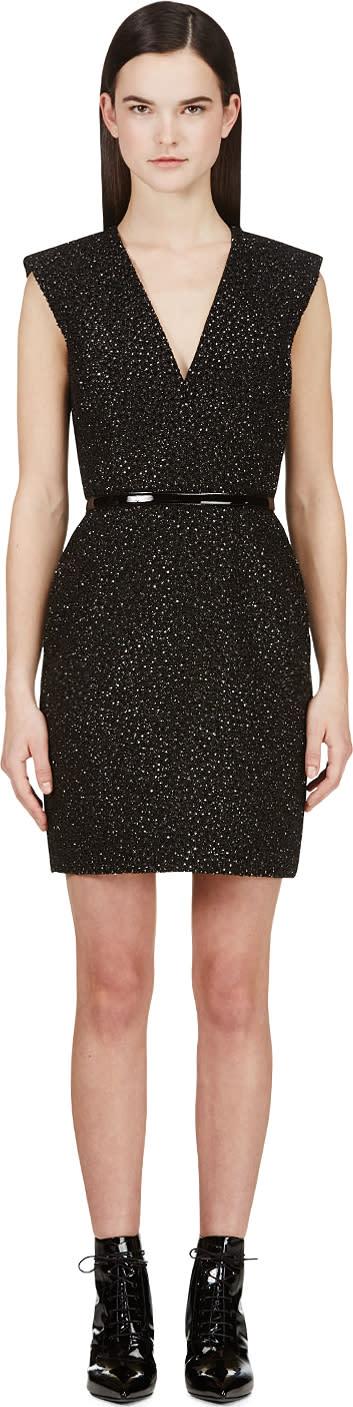 Saint Laurent Black Encrusted Sleeveless Dress
