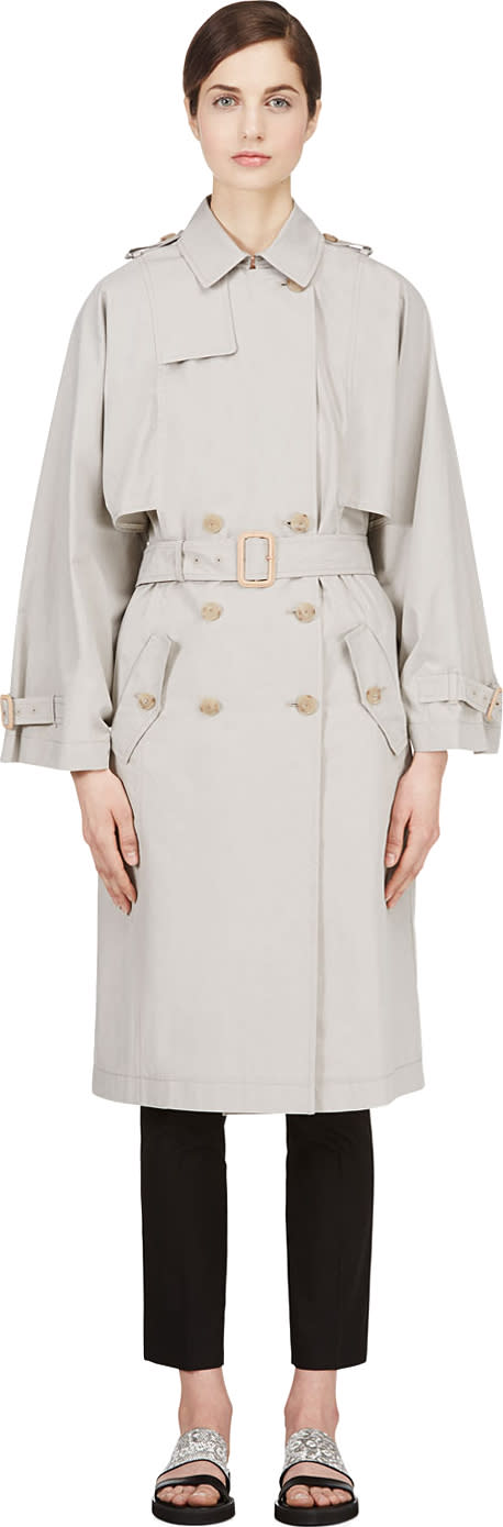 Image of Veronique Branquinho Grey Kimono Sleeve Trench Coat