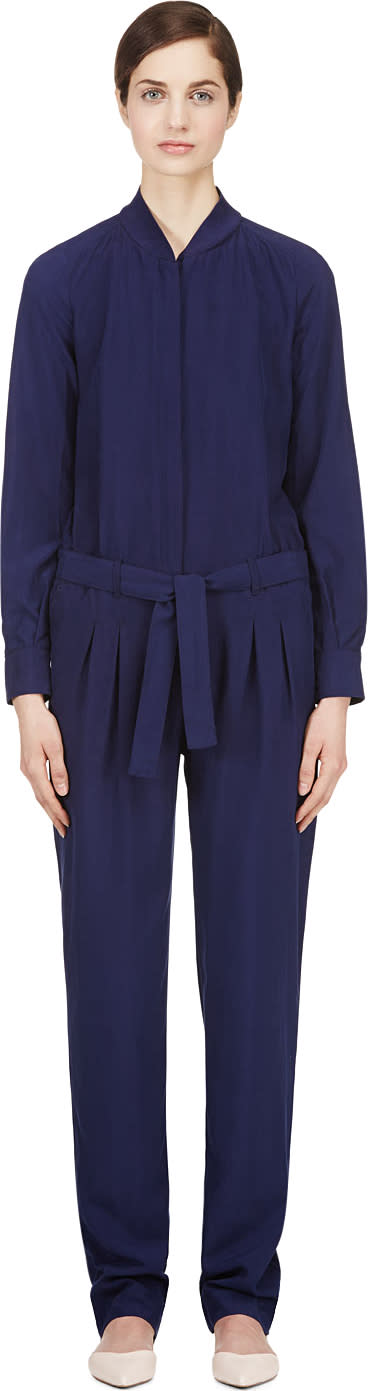 Image of Veronique Branquinho Indigo Matte Silk Jumpsuit