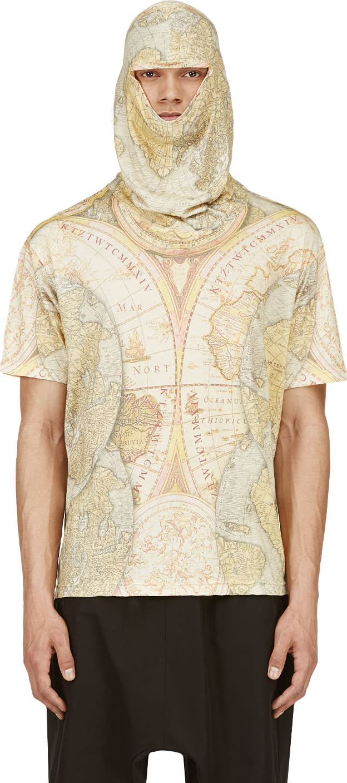 Ktz Yellow Digital Map Print Mask T-shirt