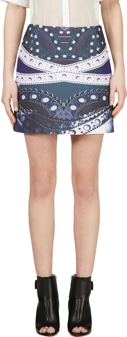 Mary Katrantzou Blue Maroon Printed Kal Skirt