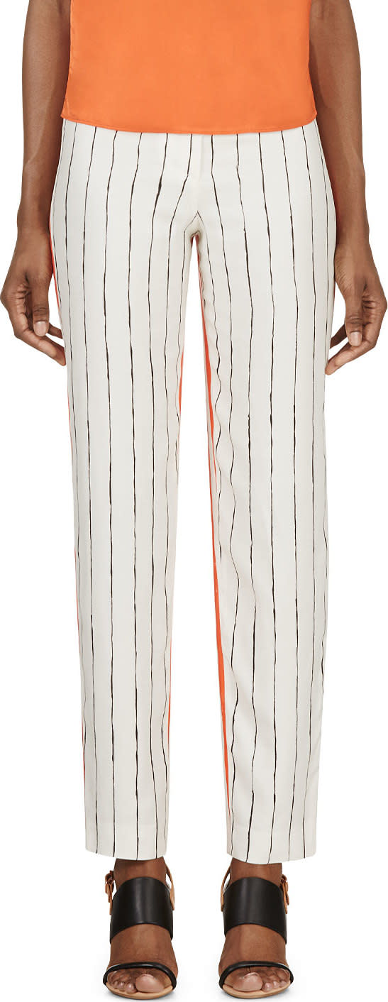 Cedric Charlier Orange and Ivory Printed Silk Twill Trousers