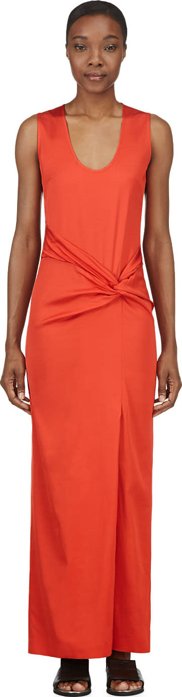 Cedric Charlier Orange Twisted Knot Maxi Dress