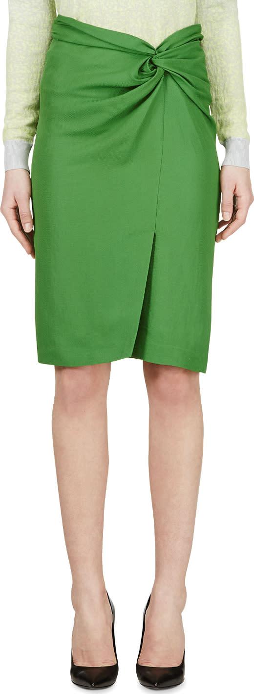 Cedric Charlier Green Wrap Pencil Skirt