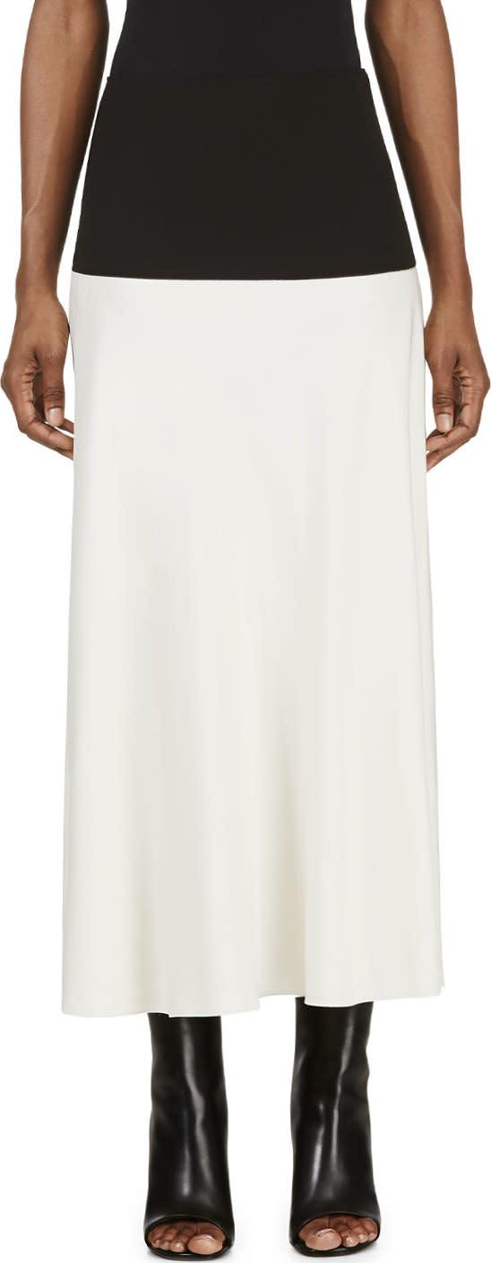 Cedric Charlier Ivory and Black Side Slit Skirt