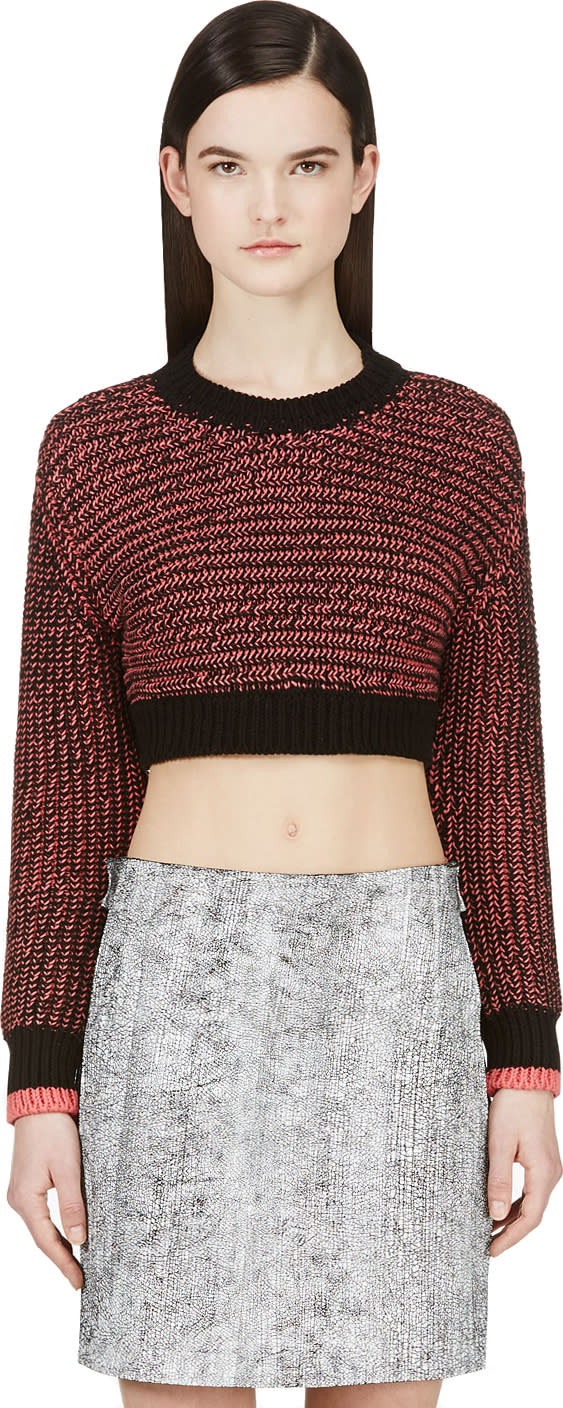 Cedric Charlier Black and Pink Knit Crop Sweater