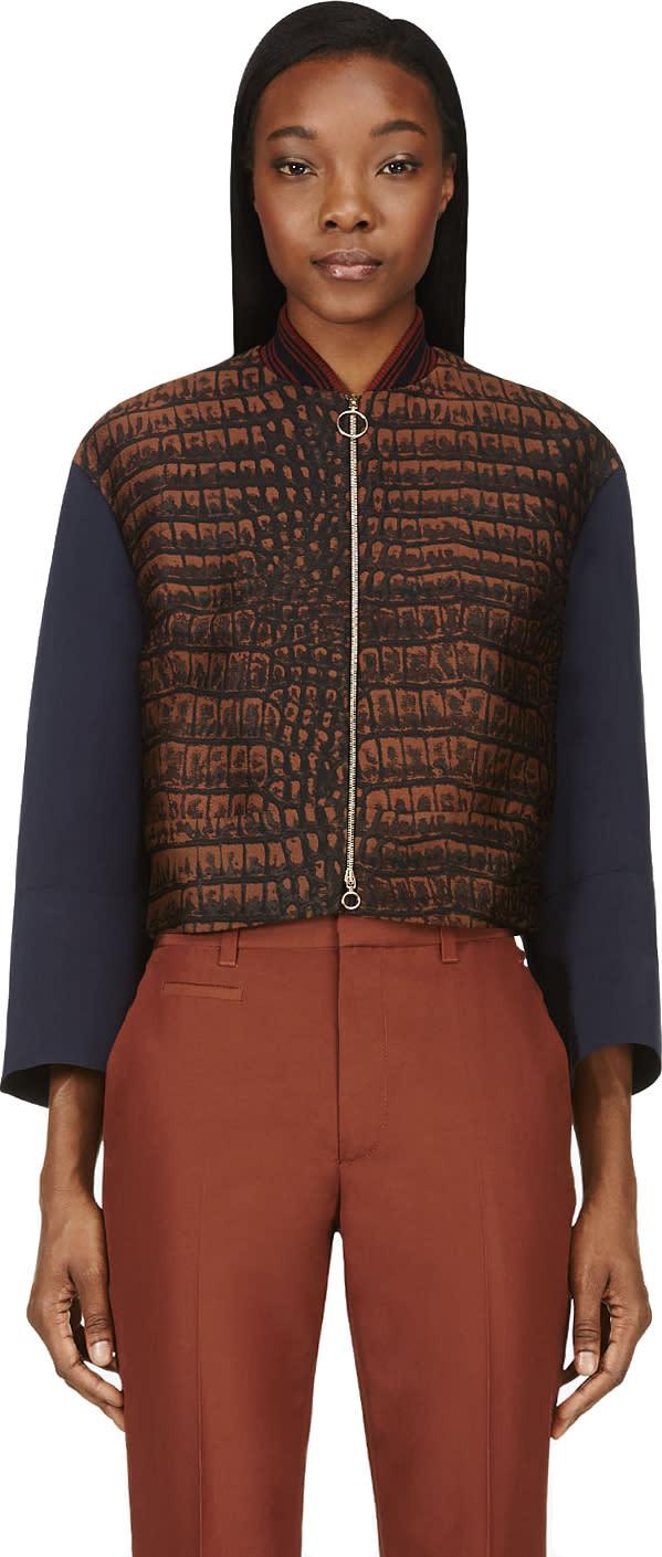 Stella Mccartney Blue and Brown Fif Croc Bomber Jacket